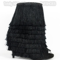 """Nelly Mambo Black Fringe Open Toe Ankle Boot Booties - 4.75"""" Heels"""