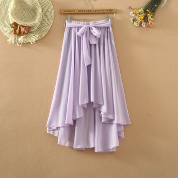 Candy Color Chiffon Pleated Bow Maxi Skirts