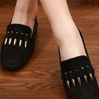 Ladies Fashion Flat Heel Bullet Design Casual Shoes In BLACK from NaomiShu