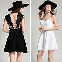 Fashion Backless Lace Wing V-Neck Sleeveless Strap Mini Dress
