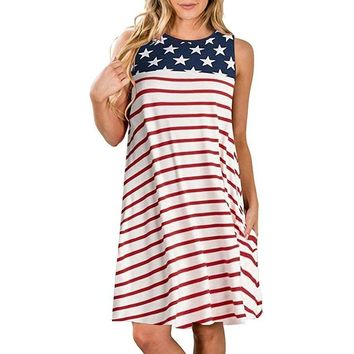 Red Stripe Navy Stars Tank Dress Adult
