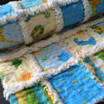 Flannel Quilt - Rag Quilt Handmade - Green Baby Quilt - Toddler Bedding - Animal Rag Quilt - Baby Nursery Quilt