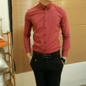 Trendy Button Design Solid Color Shirt Collar Long Sleeve Slimming Cotton Shirt For Men