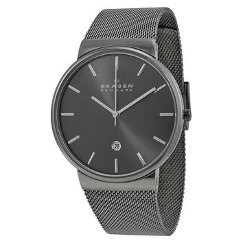 Skagen Ancher Grey Dial Grey Ion-plated Mesh Mens Watch SKW6108