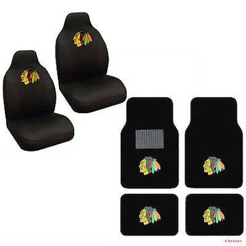 Licensed Official NHL Chicago Blackhawks Car Truck Front Rear Carpet Floor Mats & Seat Covers Set