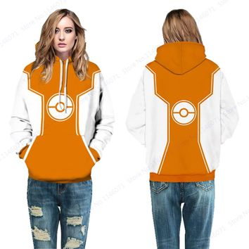 Orange Pokemon Ball Womens Skateboarding Sweatshirts Poke Ball Pullover Hoodie Winter Tracksuits Hooded Yellow Sport Suits
