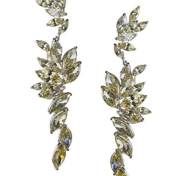 CZ by Kenneth Jay Lane - Canary Cascading Marquise  Statement Earrings