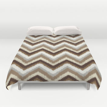 Ikat Chevron: Brown Neutral Duvet Cover by Eileen Paulino