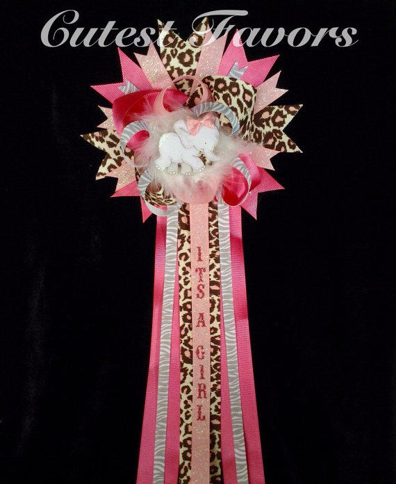 pink safari baby shower mum corsage from cutestfavors on etsy