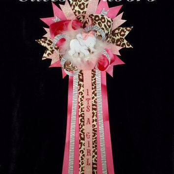 Pink safari baby shower mum /corsage