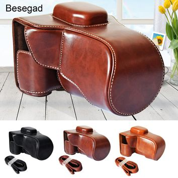 Besegad PU Leather Camera Case Protective Bag Cover with Shoulder Strap for Fujifilm Fuji film X-T10 X-T20 X T10 T20 T 10 20