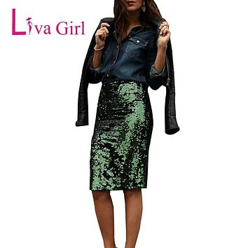 LIVA GIRL Glitter Sequin Pencil Skirt Women Sparkling Party Champagne Green Package Hip Slim Night Club Wear Pencil Mini Skirts