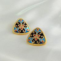 """Vintage Earrings AVON Gold Blue Black and Red """"Mosaic"""""""