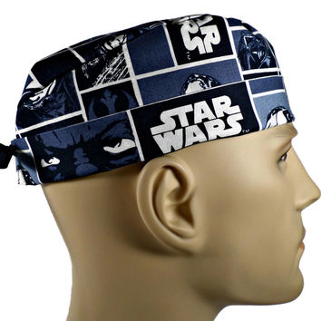 Men's Adjustable Cuffed or Un-Cuffed Surgical Scrub Hat Cap in Star Wars Squares