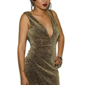 Gold Sparkly Sheath Cocktail Dress