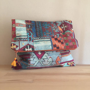 FOLD OVER CLUTCH/Kilim Clutch Bag/Ethnic Carpet Clutch /Folded Handbag/Fold over Black Clutch/Ethnic Clutch Bag
