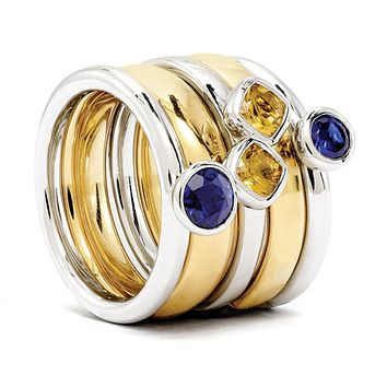 Sterling Silver, 14K Gold Plated, Citrine & Cr.Sapphire Stack Ring Set