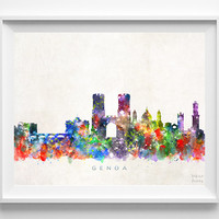 Genoa Skyline Print, Italy Print, Genoa Poster, Italy Cityscape, City Art, Watercolor Art, Wall Decor, City Skyline, Christmas Gift