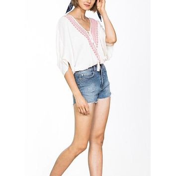 SPRING BREAK EMBROIDERED TOP
