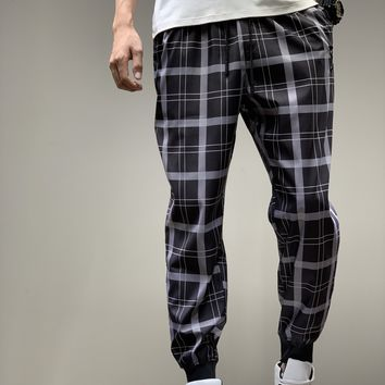"""""""Burberry"""" Unisex Casual Letter Tartan Print Retro Pocket Sweatpants Couple Thickened Leisure Pants Trousers"""