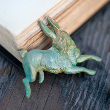 Verdigris Rabbit Brooch Valentines Day Teal Vintage Woodland Hare Spring Bunny Indie Jewelry Natural History