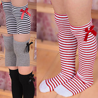 2015 New Arrival Girls Cotton Long Knee Socks Kids Children Baby Toddler Bowknot Striped Leg Warmers 76UU