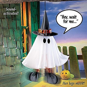 Animated Ghost Witch Hat Halloween Hanging Spooky Decor