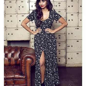 Jameela Jamil Star Print Maxi Dress | SimplyBe US Site