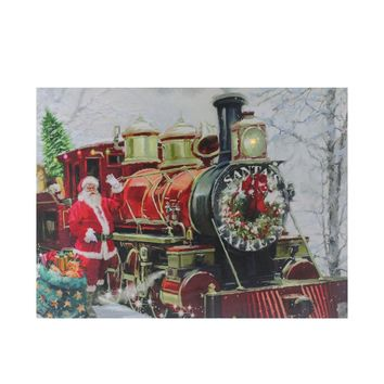 "Fiber Optic and LED Lighted ""Santa's Express"" Canvas Wall Art 12"" x 15.75"""