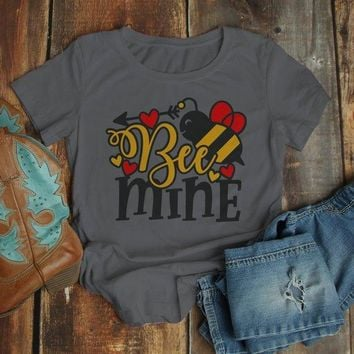 Women's Valentine's Day T Shirt Bee Mine Shirts Cute Bee TShirt Valentines Shirts Arrow Tee