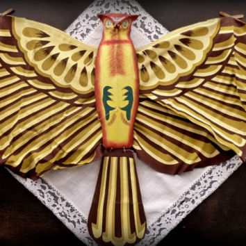 Vintage Silk Kite Chinese Silk Kite Hand-painted Kite Tientsin Silk Kite Bird of Prey Falcon Kite 1950s Kite Brown Falcon Kite