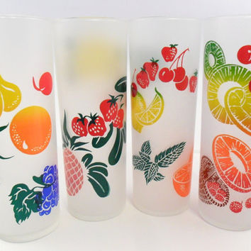 Federal Glass Co. Fruit Pattern Zombie Glasses Set of 4