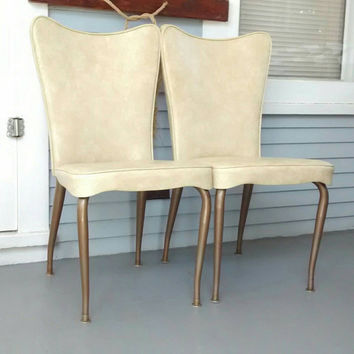 Chairs, Kitchen Chairs, Dining Chairs, Set of Two, Retro, Vintage, Vinyl, Metal