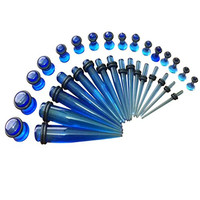 BodyJ4You® Gauges Kit 16 Pairs Blue Transparent Acrylic Tapers & Plugs 14G 12 G10G 8G 6G 4G 2G 0G 32 Pieces