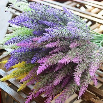 25 Heads Artificial Lavender Flower Plastic Bouquet Floral DIY Beauty Home Wedding Decoration