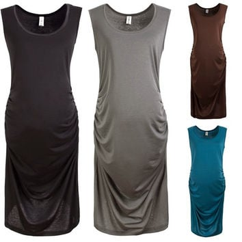 Pregnancy Maternity Pregnant Nursing Women's Ruched Tank Dress Office Sundress = 1947011204