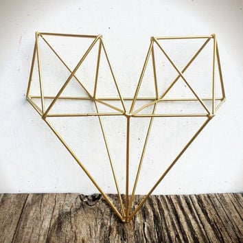 BOLD 3D geometric metal heart wall art // metallic gold leaf // modern tribal wire diamond // boho bohemian chic // wedding nursery decor