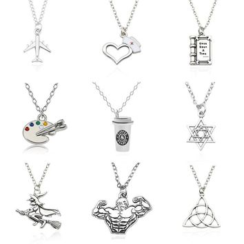Diy Fairy Tale Book Airplane Hexagram Triangle Coffee Cup Pendant Necklace Medical Nurse Hat Dance Sport Girls Jewelry Collares