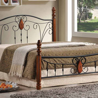 Metal Bed Frame With Wood Posts & Mattress Support