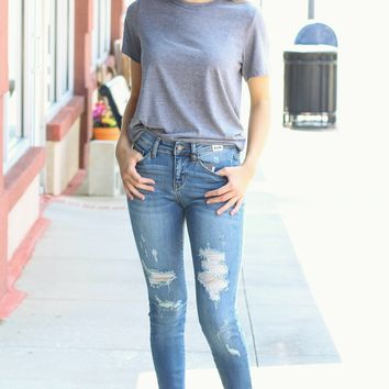 Judy Blue: Destroyed Hem Mid-Rise Skinny Jeans
