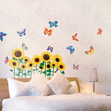Sunflowers & Butterfly - Large Wall Decals Stickers Appliques Home Decor