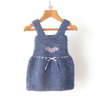 Little Girl Dress / Hand Knit Dress / Baby Blue Dress With Heart / 6-12 Months / Winter Wool Clothes / Ready To Ship