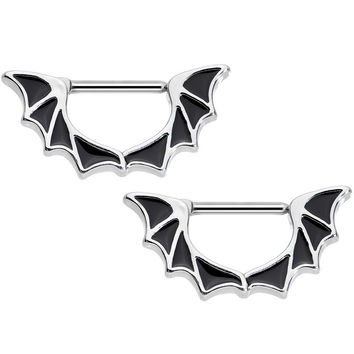 "14 Gauge 1/2"" Stainless Steel Halloween Bat Wings Nipple Clicker Set"