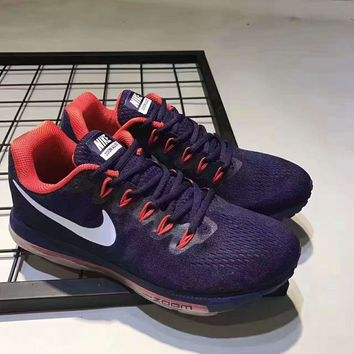 NIKE zoom sports sneakers shoes purple-white hook red soles H-PSXY