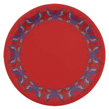 Red White Blue Butterfly-Red Paper Plates 9 Inch Paper Plate