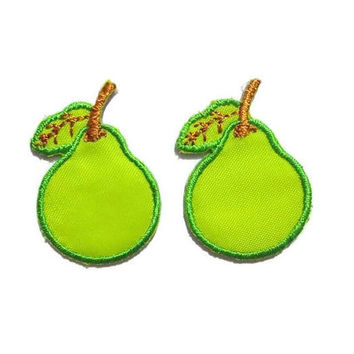 Set 2 pcs. Little Pear Cute Patches - Green Fruit New Sew / Iron On Patches Embroidered Applique Size 2.3cm.x3.3cm.