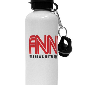 Fake News Network Funny Aluminum 600ml Water Bottle by TooLoud