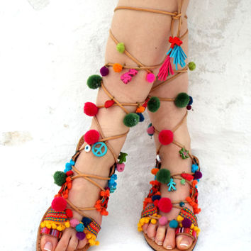 "Greek lace up Sandals, Pom Pom Leather Sandals, "" Amazon"" Tie up Sandals, hippie leather shoes, colorfull Valentine's gift"