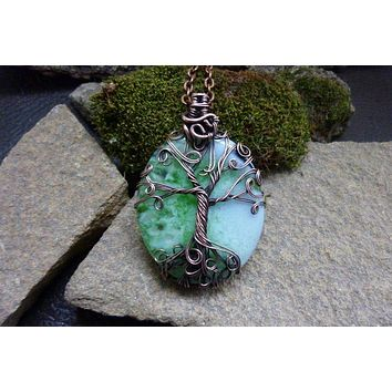 Blue and Green Agate with Tree of Life