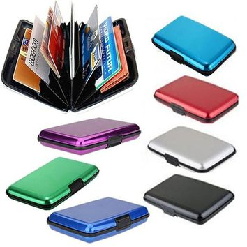 Glossy Multicolored Pocket Waterproof Wallet Business ID Credit Card Purse Cash Holder Aluminium Alloy(Outer) + Plastic( Inner)